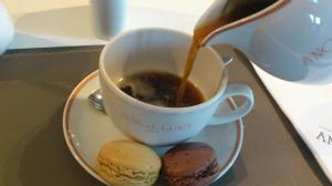 Louvre Cafe macaroons and coffee